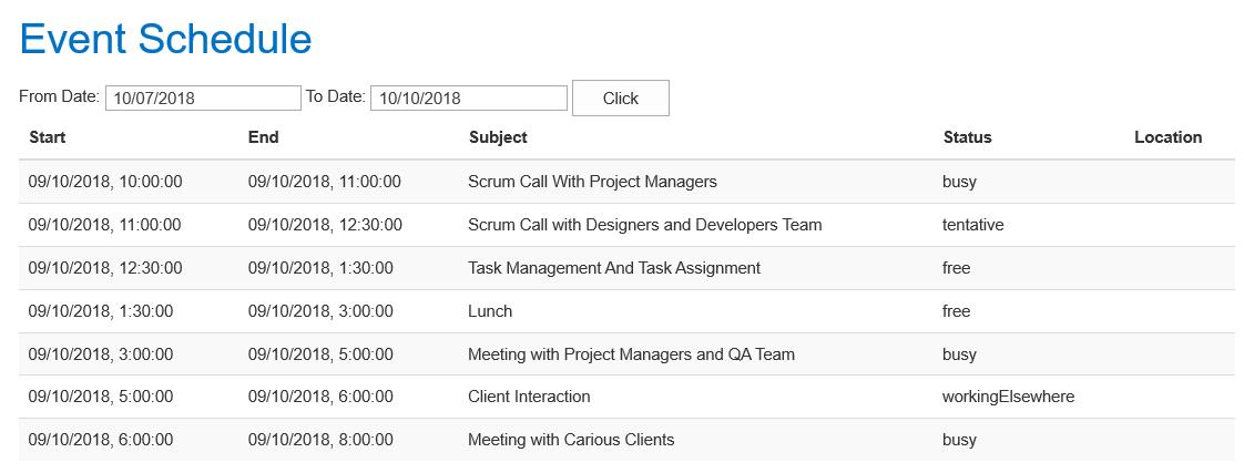 Get calendar events in SharePoint using Graph API – PARAS